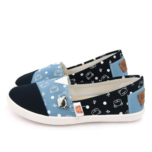 【童鞋城堡】拉拉熊 女款 塗鴉簡約帆布休閒鞋(KM2062-藍)