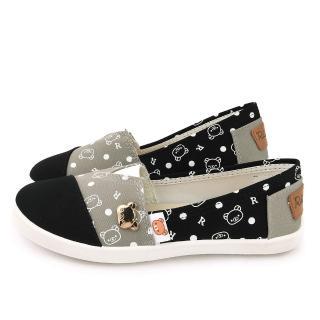 【童鞋城堡】拉拉熊 女款 塗鴉簡約帆布休閒鞋(KM82062-黑)