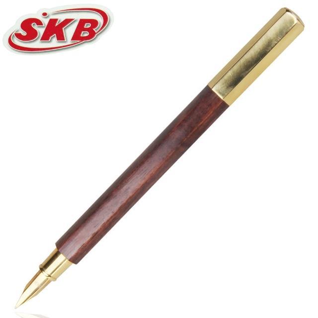 【SKB文明鋼筆】TM-506 六角木頭鋼筆-黃銅色(F尖)
