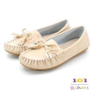 【101玩Shoes】mit.蝴蝶流蘇美結樂福豆豆鞋(米色.36-40)