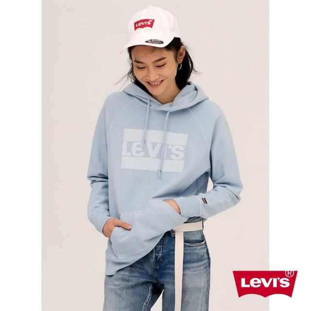 【LEVIS】帽T 女裝 / 淺藍LOGO