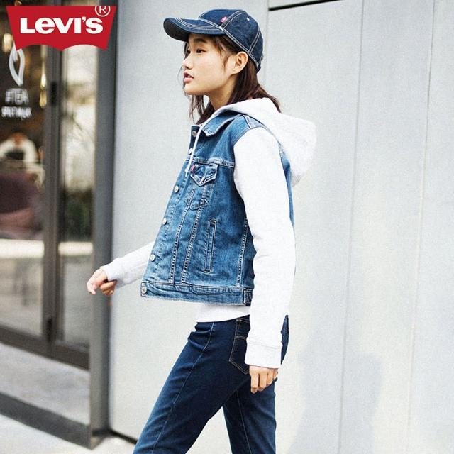 【LEVIS】牛仔外套 女裝 / 連帽拼接