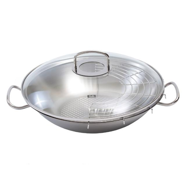 【Fissler】Original Profi 中式炒鍋附瀝油架 中華炒鍋 不鏽鋼鍋 35cm 玻璃鍋蓋