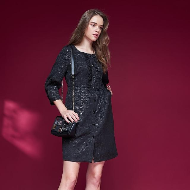 【ICHE 衣哲】精緻質感幾何立體提花七分袖造型禮服洋裝-黑