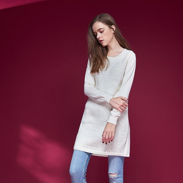 【ICHE 衣哲】暖時尚羊毛簡約百搭針織長袖造型上衣洋裝-兩穿-米
