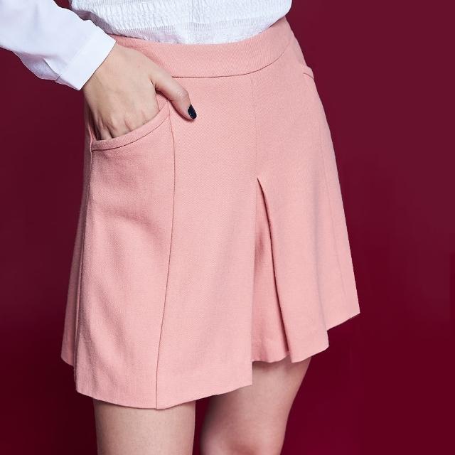【ICHE 衣哲】微甜氣質百搭素面挺版簡約造型褲裙-粉膚