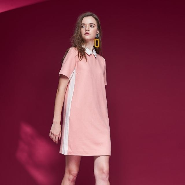 【ICHE 衣哲】微甜氣質襯衫領拼接簡約造型洋裝-粉膚