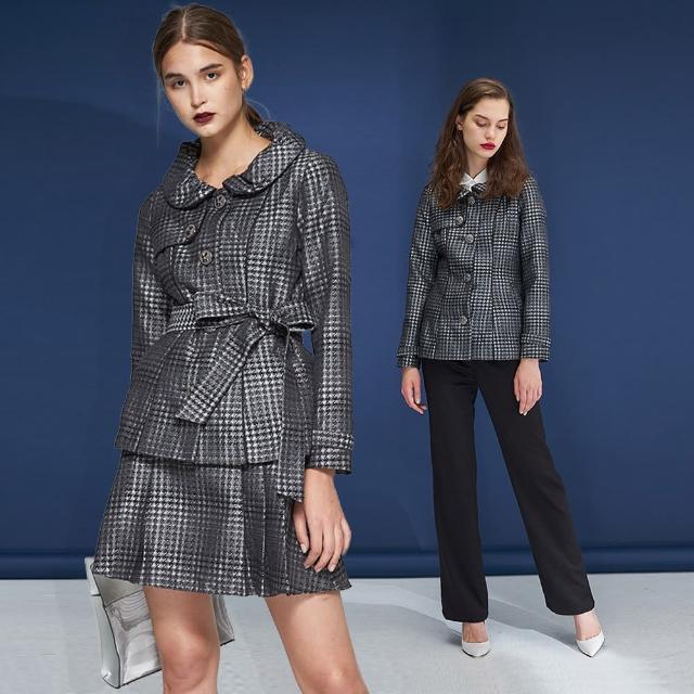 【ICHE 衣哲】設計款千鳥格紋羊毛兩穿造型洋裝外套-黑