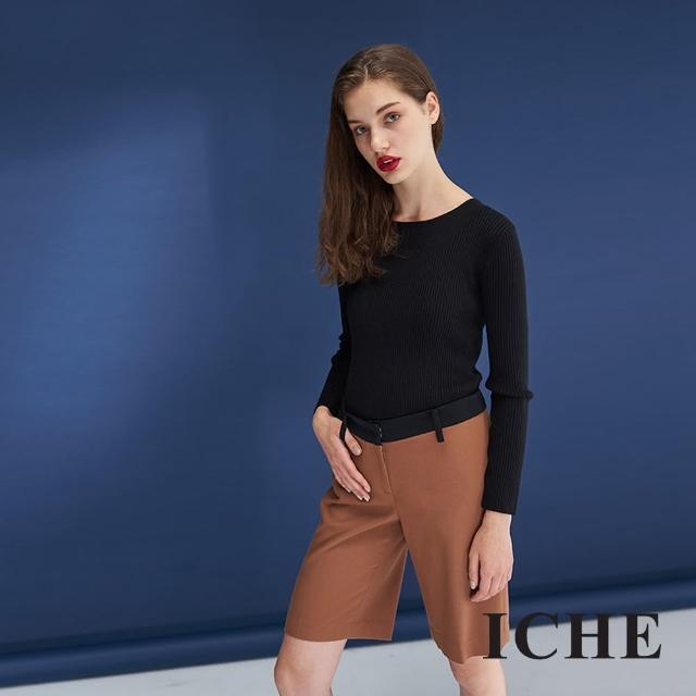 【ICHE 衣哲】暖時尚羊毛簡約挺版鉛筆造型百搭馬褲-咖