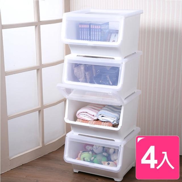 【真心良品】貝思塔易取式可疊收納箱38L(4入)
