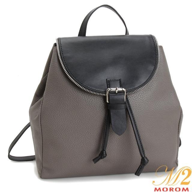 【MOROM】真皮米蘭時尚配色後背包(共二色)