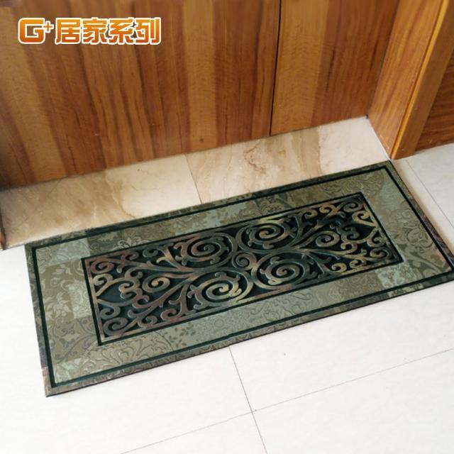 【G+ 居家】古典雕花橡膠植絨迎賓戶外地墊(金玉滿堂)