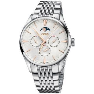 【ORIS 豪利時】Artelier 藝術家月相盈虧機械錶-銀/40mm(0178177294031-0782179)