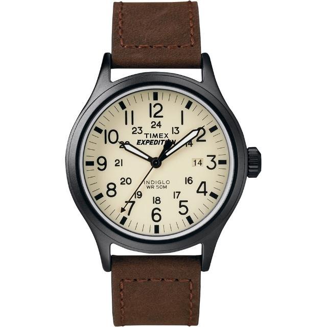 【TIMEX】天美時 遠征系列 Expedition 超越巔峰登山探險手錶(白面/咖啡帶 TXT49963)