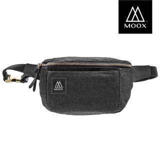 【MOOX 穆克斯】O12BB 厚磅單寧斜背包/腰包(內斂黑)