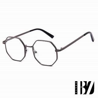 【BeLiz】六角金屬*典雅細平光眼鏡/鐵黑