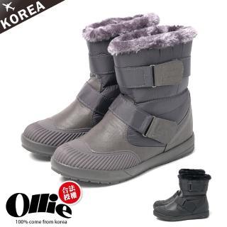 【OLLIE】韓國空運/版型偏小。防潑水尼龍面料奶油頭魔鬼氈釦帶內鋪毛雪地靴(72-617/現貨)