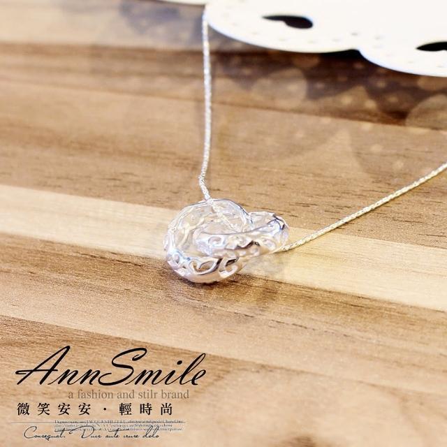 【微笑安安】圓弧雕花雙套環925純銀細緻項鍊