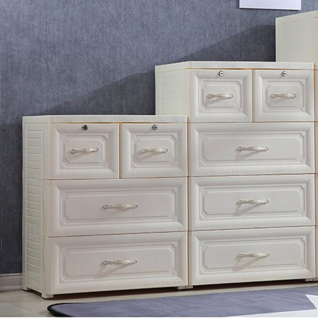 【Ashley House】歐式古典提花手把三層收納櫃二大二小抽-附鎖抽屜DIY(面寬60cm)
