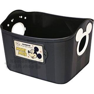 〔小禮堂〕迪士尼 米奇 日製置物籃《2.5L.黑.造型提把.方形》輕鬆美化空間
