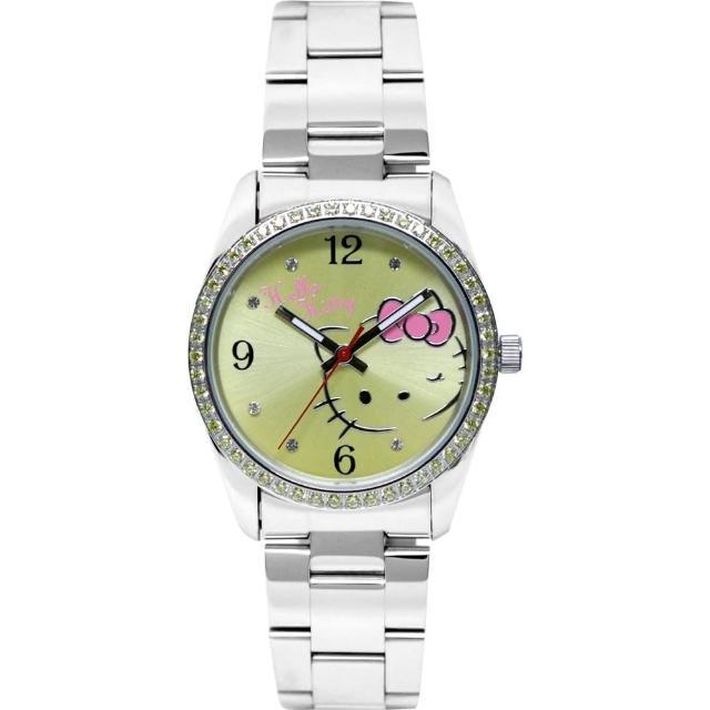 【HELLO KITTY】凱蒂貓俏皮眨眼晶鑽腕錶(黃 LK691LWYA-S)