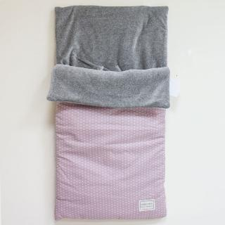 【西班牙 Minicoton】純棉嬰兒車睡袋/包巾/防踢被_ 玫瑰粉星星(MCSA001)