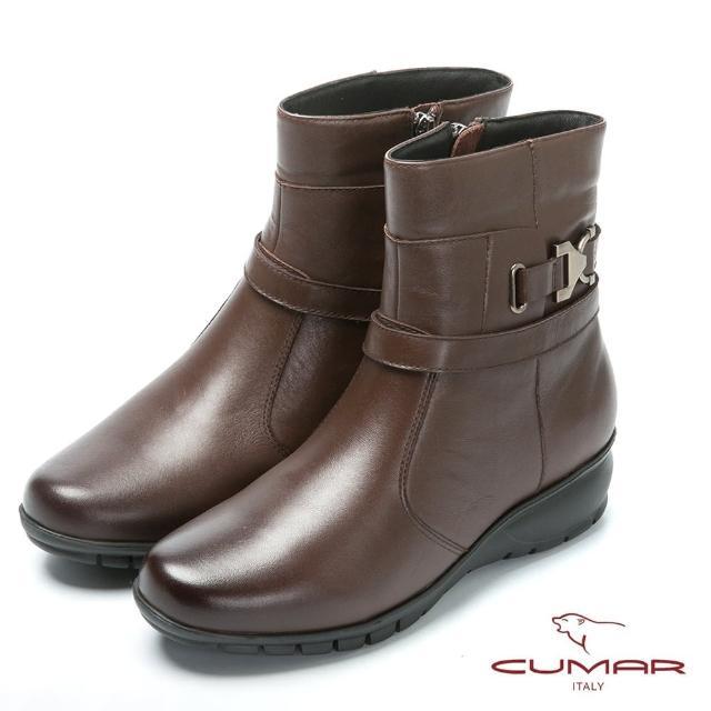 【CUMAR】严选真皮-舒适鞋底真皮短靴(咖啡色)