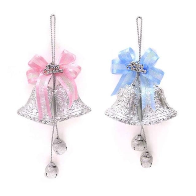 【摩達客】3吋銀色雙花鐘鈴鐺串吊飾(一組兩入)