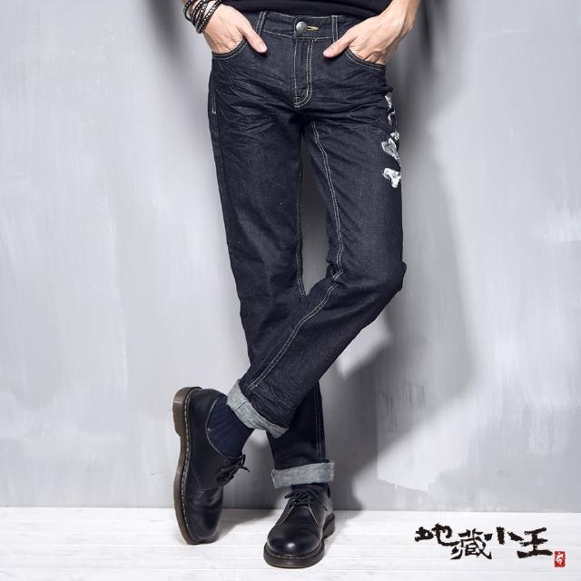 【BLUE WAY】地藏骷髏精繡低腰直筒褲 - 地藏小王