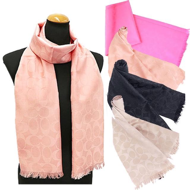 【COACH】經典COACH LOGO 羊毛混桑蠶絲流蘇圍巾披巾(4色)