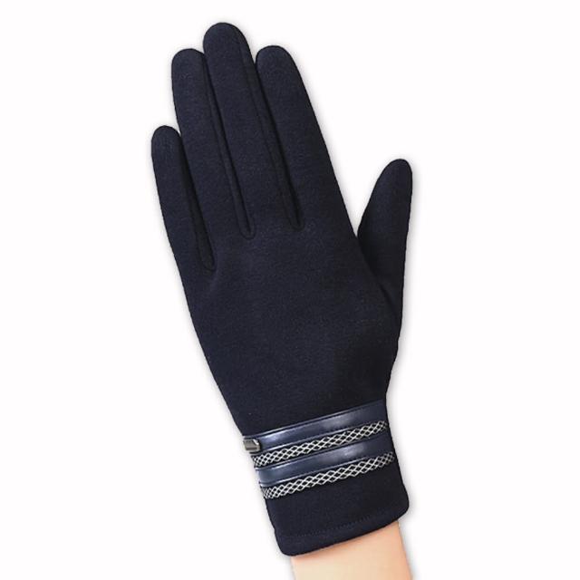 【幸福揚邑】防風觸控手套加絨保暖機車手套-皮飾男款(深藍)