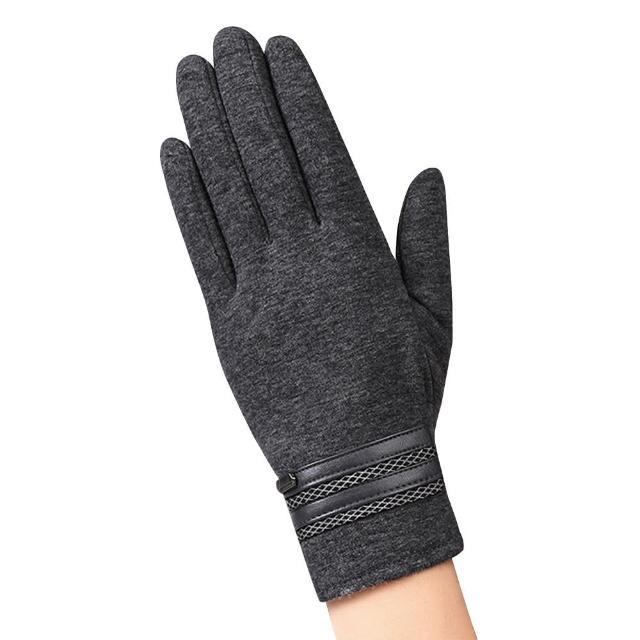 【幸福揚邑】防風觸控手套加絨保暖機車手套-皮飾男款(灰)