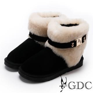 【GDC】甜美氣質方釦毛毛雪靴-黑色(728830)
