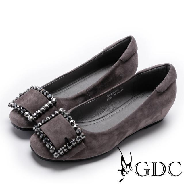 【GDC】優雅羊絨水鑽扣飾內增高女鞋-灰色(724958)
