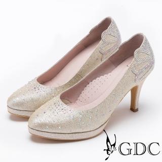 【GDC】滿鑽高貴奢華金蔥高跟鞋/婚鞋-金色(727157)