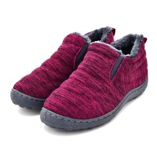 【HIKOREA】韓國空運/版型偏小。混色棉質面料滾邊內鋪毛橡膠防滑懶人暖靴(7-2844/現貨)