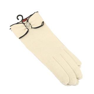 【CLATHAS】山茶花LOGO 安哥拉羊毛觸控手套(米色)