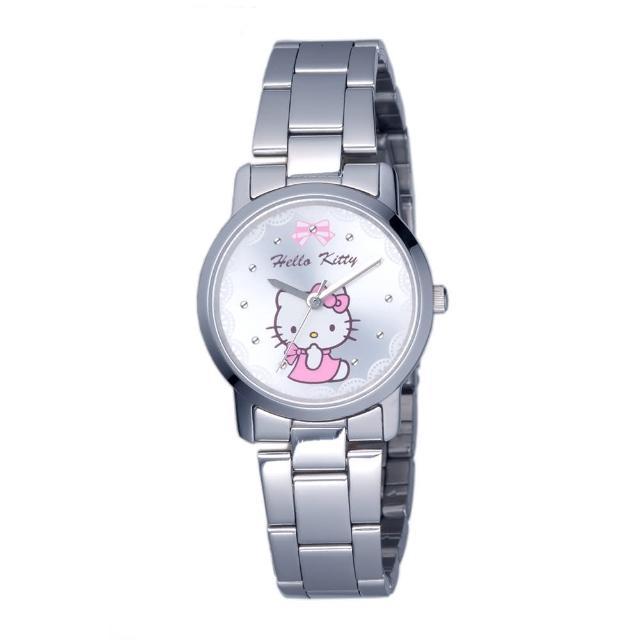 【HELLO KITTY】凱蒂貓可愛滿分俏麗手錶(銀 LK680LWWI)