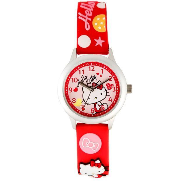 【HELLO KITTY】凱蒂貓亮眼立體印花手錶(紅 KT013LWRR-A)