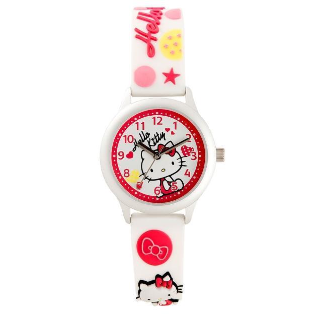 【HELLO KITTY】凱蒂貓亮眼立體印花手錶(白 KT013LWWW-A)