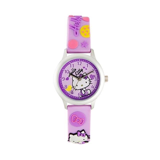 【HELLO KITTY】凱蒂貓亮眼立體印花手錶(紫 KT013LWVV-A)