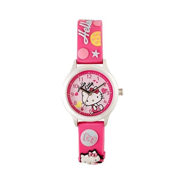 【HELLO KITTY】凱蒂貓亮眼立體印花手錶(桃紅 KT013LWPP-A)