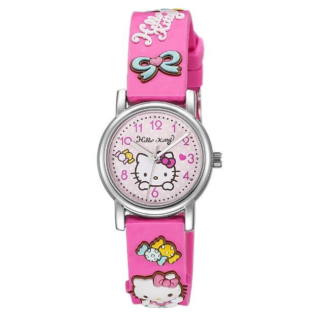 【HELLO KITTY】凱蒂貓生動迷人立體圖案手錶(桃紅 KT015LWPP1)