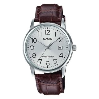 【CASIO 卡西歐】指針男錶 皮革錶帶 防水 日期顯示(MTP-V002L-7B2)