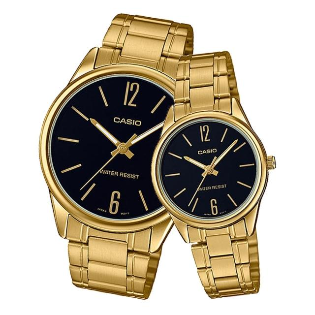 【CASIO 卡西歐】指針對錶 不鏽鋼錶帶 黑 防水(MTP-V005G-1B+LTP-V005G-1B)