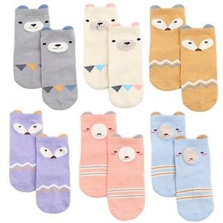 【JoyNa】嬰兒襪童襪 兒童立體卡通珊瑚絨拼接防滑襪地板襪(3入)