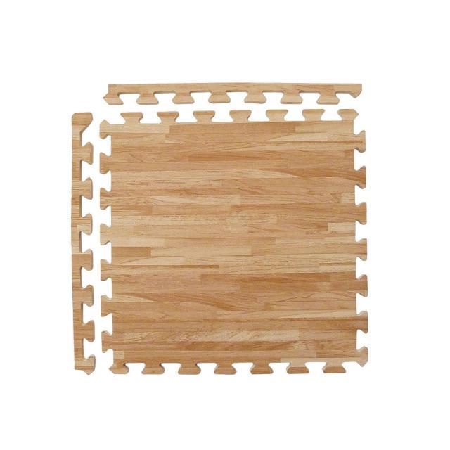 【新生活家】耐磨拼花木紋地墊(淺色45x45x1.2cm12入附邊條)