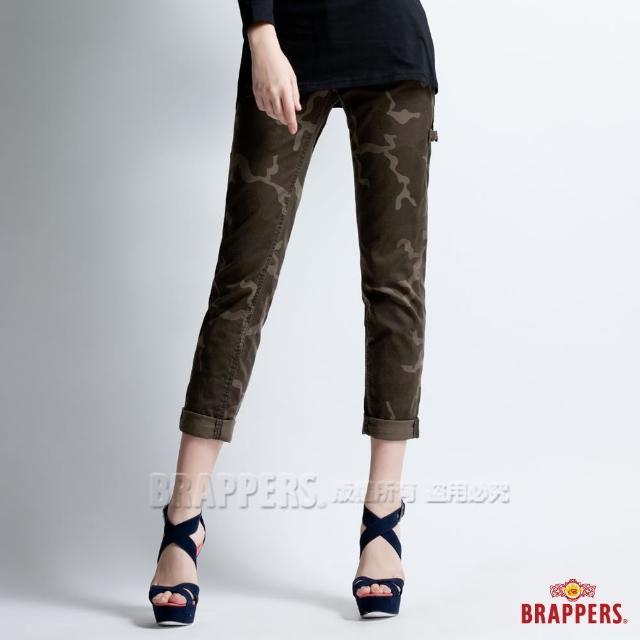 【BRAPPERS】女款 Boy Firend系列-中低腰彈性九分反摺工作褲(迷彩)