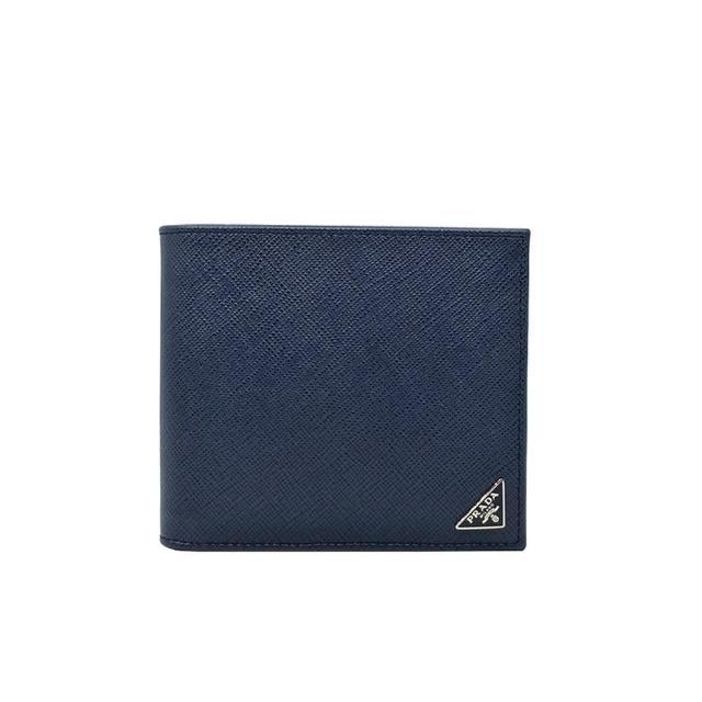 【PRADA 普拉達】2M0513 深藍 小三角牌(經典Saffiano 防刮牛皮 8卡對折男短夾)