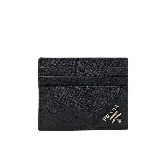 【PRADA 普拉達】2MC223 黑 經典印字(扁式卡夾)